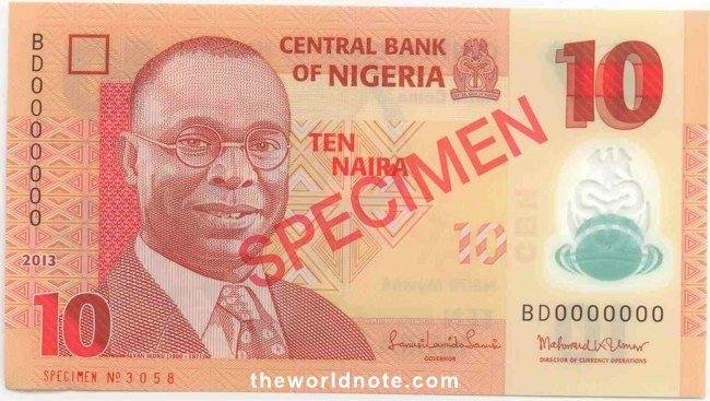 2007 ₦10 Nigeria was originally introduced in 1979 and re-issued in 1984 in a different colour.