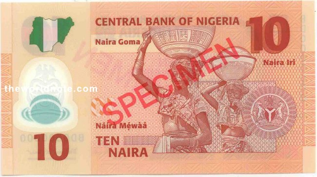 2007  ₦5 Nigeria  The back has a picture of Fulani milk maids.