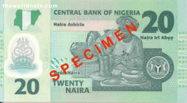 2007 ₦20 Nigeria The back has the portrait of Ladi Kwali, a famous potter.