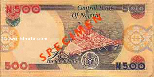 2007 ₦500 Nigeria  At the back of the note is the picture of an off-shore oil-rig.