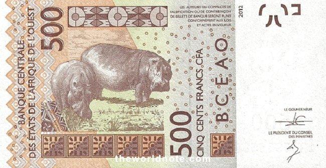 500 Francs CFA the back is Hippopotami
