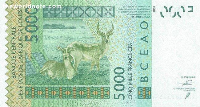 5000 Francs CFA the back is  Antelopes (kobus kob)