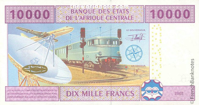 10000 francs FCFA the back is Transport and communication
