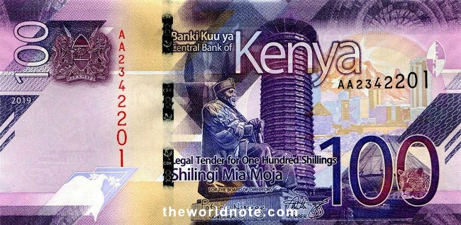 2019 KSh100 shillings the front is Coat of arms of Kenya