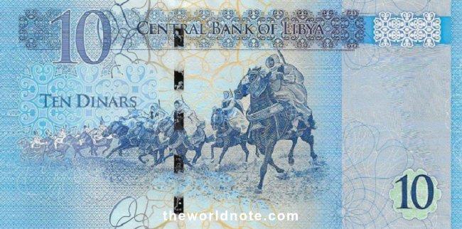 10 Libyan dinar(2015)the back is Horsemen of Omar el Mukhtar