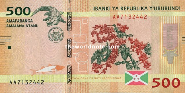 500 Burundian franc the front is Crocodile, arms, flag, coffee branch