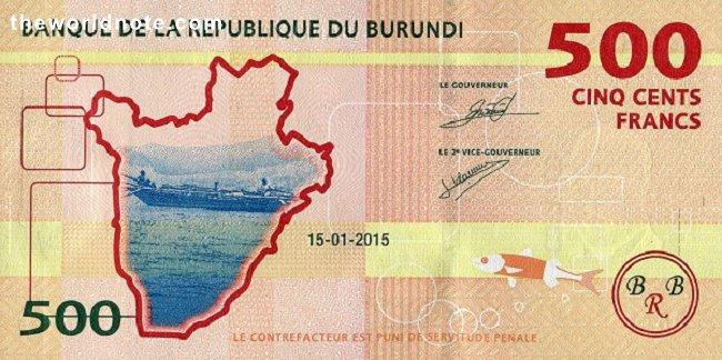 500 Burundian franc the back is Outline of Burundi, boat on Lake Tanganiyka