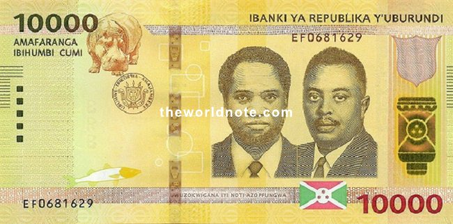 10000 Burundian franc the front Hippo, arms, flag, Prince Rwagasore, President Melchior Ndadaye
