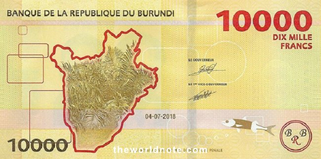 10000 Burundian franc the back is Outline of Burundi, plants