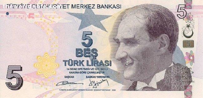 5 Turkish lira the front is President Mustafa Kemal Atatürk