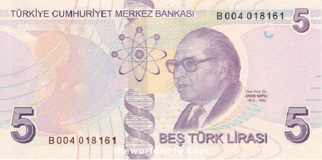 5 Turkish lira the back is Prof Dr. Aydın Sayılı