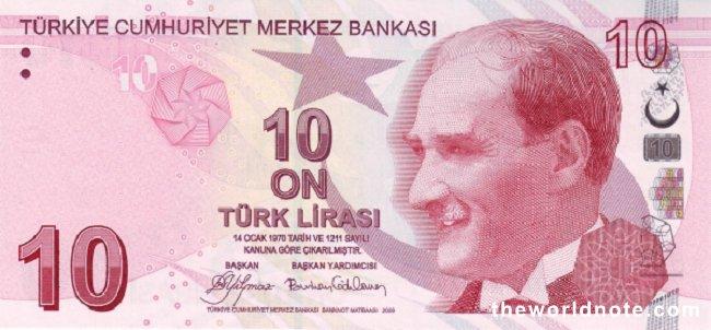 10 Turkish lira the front is  President Mustafa Kemal Atatürk
