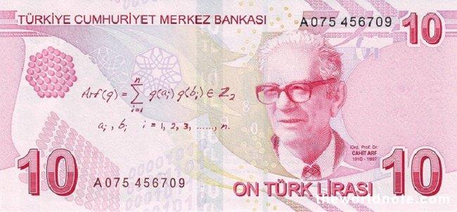 10 Turkish lira the back is Prof Dr. Cahit Arf