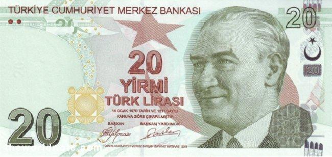20 Turkish lira the front is  President Mustafa Kemal Atatürk