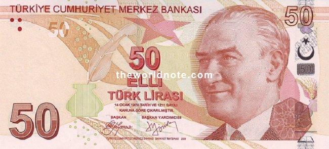 50 Turkish lira the front is  President Mustafa Kemal Atatürk
