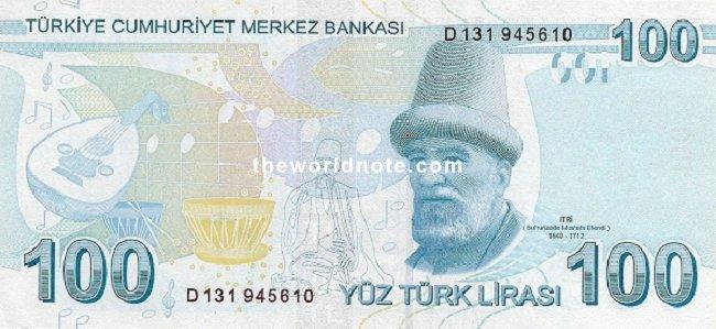 100 Turkish lira the back is Itri (Buhatizada Mustafa Efendi)