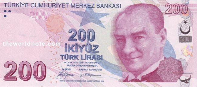 200 Turkish lira the front is  President Mustafa Kemal Atatürk