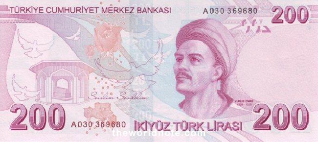 200 Turkish lira the back is Yunus Emre