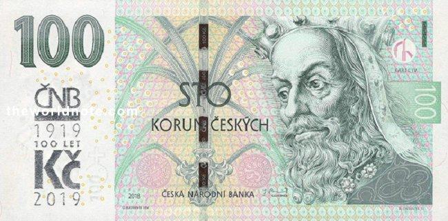 100 Czech koruna the front is Karel IV
