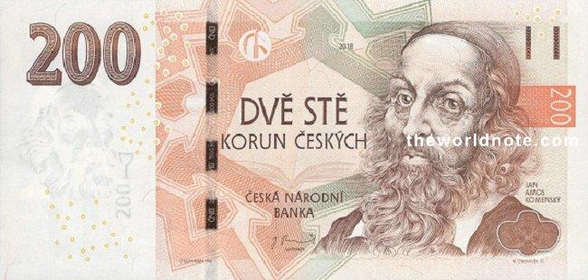 200 Czech koruna the front is Jan Amos Komenský