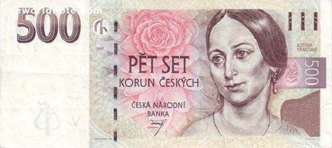 500 Czech koruna the front is Božena Němcová and rose