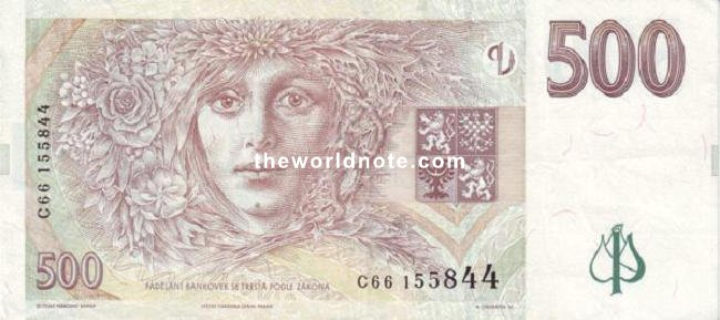 500 Czech koruna the back is Laureate woman symbolizing all woman characters in Němcová\s books