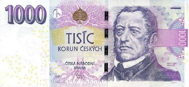 1000 Czech koruna the front is František Palacký, uprooted tree