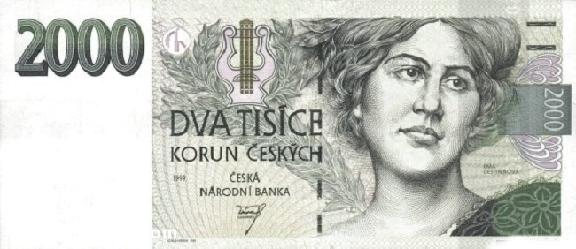 2000 Czech koruna the front is Ema Destinnová