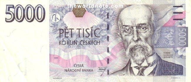 5000 Czech koruna the front is Tomáš Garrigue Masaryk