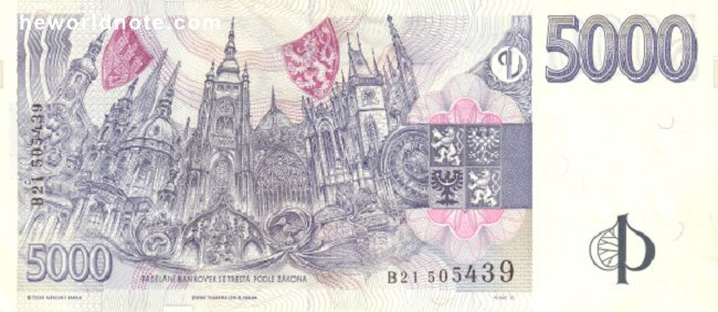 5000 Czech koruna the back is Gothic and Baroque buildings in Prague, in centre dominating St. Vitus Cathedral
