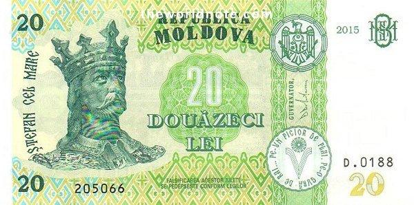 20 Moldovan leu the front is  Ştefan cel Mare (Stephen the Great)