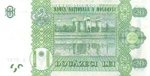 20 Moldovan leu the back is Soroca castle