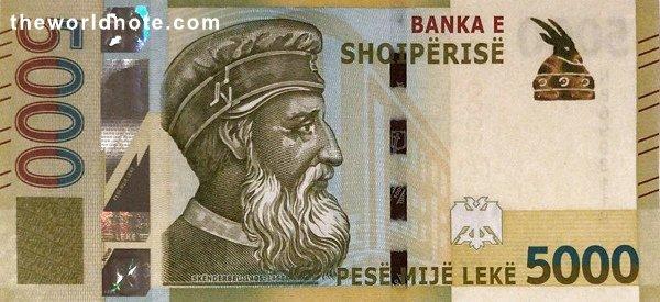 5000 Albanian lek the front is Skanderbeg, Banka e Shqipërisë building (Tirana)
