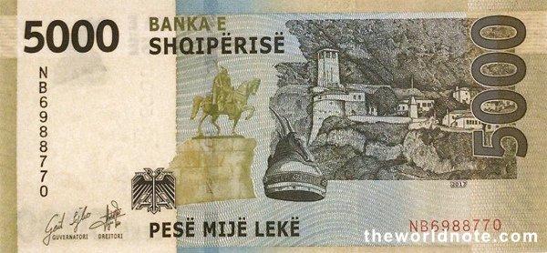 5000 Albanian lek the back is Equestrian statue of Skanderbeg, Skanderbeg\s crown, Kruja fortress