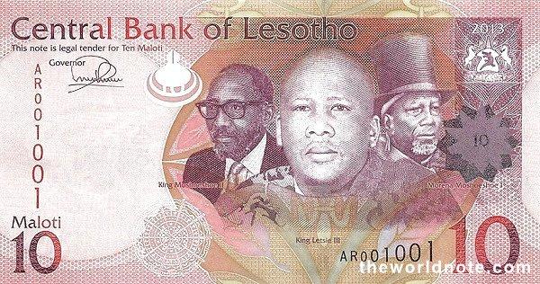 10 Lesotho loti the front is Kings Letsie III, Moshoeshoe I & Moshoeshoe II, arms