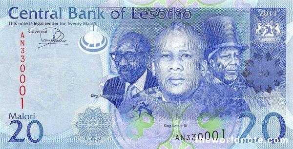20 Lesotho loti the front is   Kings Letsie III, Moshoeshoe I & Moshoeshoe II, arms