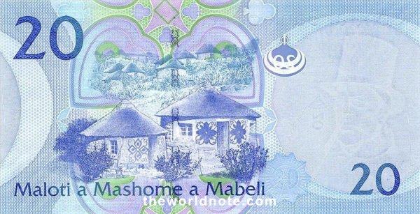 20 Lesotho loti the back is  Basotho huts
