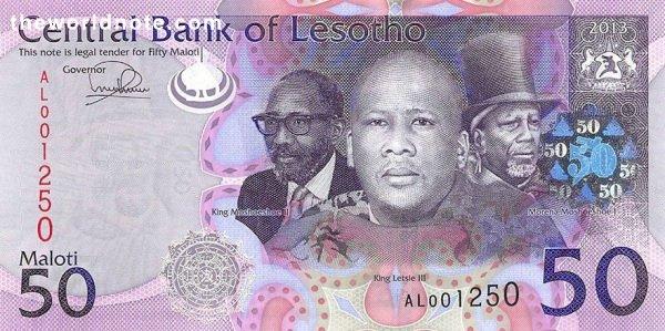 50 Lesotho loti the front is Kings Letsie III, Moshoeshoe I & Moshoeshoe II, arms
