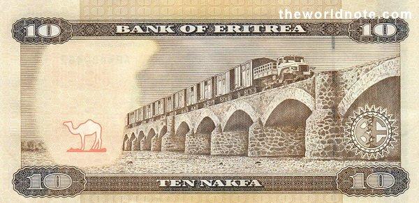10 Eritrean nakfa the back is Dogali River railroad viaduct