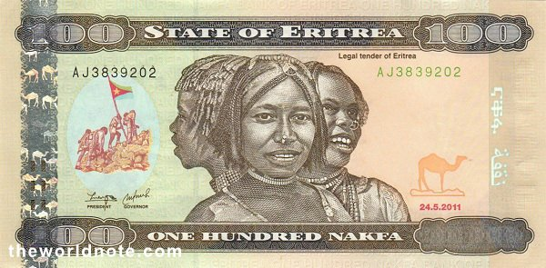 100 Eritrean nakfa the front is Girls