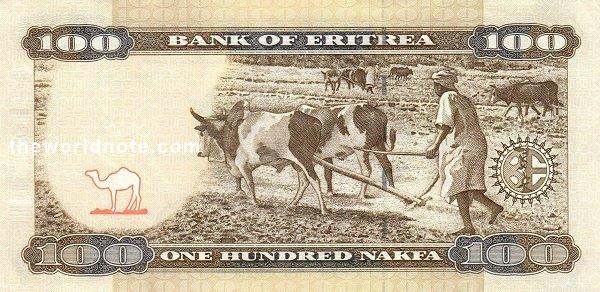 100 Eritrean nakfa the back is Fieldwork