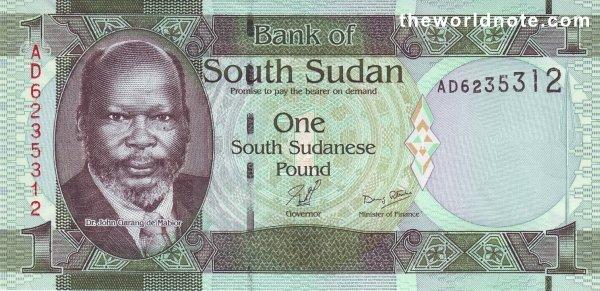 1 South Sudanese pound the front is  Dr. John Garang de Mabior