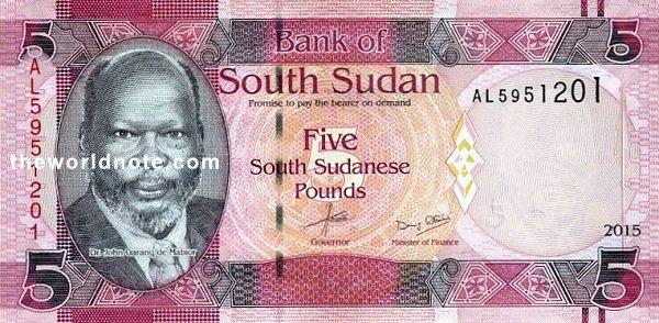 5 South Sudanese pound the front is Dr. John Garang de Mabior