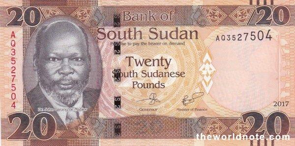 20 South Sudanese pound the front is Dr. John Garang de Mabior