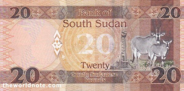 20 South Sudanese pound the back is Antelopes