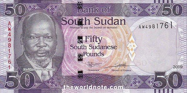 50 South Sudanese pound the front is Dr. John Garang de Mabior