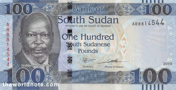 100 South Sudanese pound the front is Dr. John Garang de Mabior