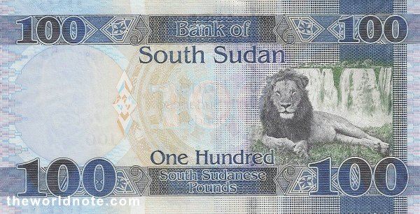 100 South Sudanese pound the back is Lion, waterfall