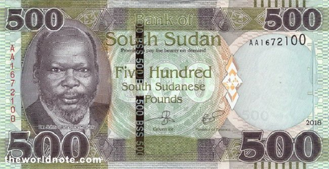 500 South Sudanese pound the  front is Dr. John Garang de Mabior