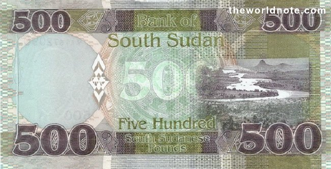 500 South Sudanese pound the back is River Nile